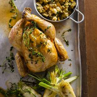 Roast chicken with pear lemon and fennel seed stuffing