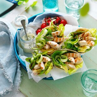 Minted chicken   asparagus wraps 8534